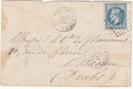 Gare De CHALONS SUR SAÔNE -  23 Mai 1868- Bureau De Passe1307 Au Verso - France