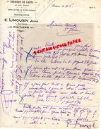 86 - POITIERS- LETTRE MANUSCRITE E. LIMOUSIN JEUNE-FABRIQUE GANTS-GANTERIE-MEGISSERIE-TANNERIE- 1922 - France