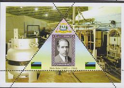 PHYSICIST Niels Bohr  TRIANGULAR STAMP  1 Sheet LIMITED EDITION  CINDERELLA
