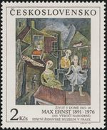 """Czechoslovakia / Stamps (1991) 2994: Max Ernst (1891-1976) """"Living In This House"""" (1914); National Jewish Museum Prague"""