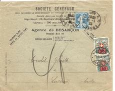 France, 37, 20.3.1925, Lettre, Besançon à Luzern, Suisse, Taxeèe, Voir  Scans! - 1900-27 Merson