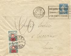 France, 37, 2.3.1925, Lettre, Paris à Luzern, Suisse, Taxée, Voir Scans! - 1900-27 Merson