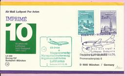 Letter, 10 Years Of Lufthansa In Budapest, 1977., Hungary, By Airmail, Budapest - Munchen