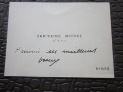 MILITARIA CARTE De VISITE  CAPITAINE MICHEL 15é B.C.A. BASE CIE Aérienne Meilleurs Vœux De NÎMES - Visiting Cards