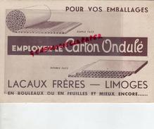 87 - LIMOGES- RARE BUVARD LACAUX FRERES- CARTON ONDULE-CARTONNERIE -EMBALLAGES BOITES PLIANTES - Buvards, Protège-cahiers Illustrés