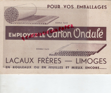 87 - LIMOGES- RARE BUVARD LACAUX FRERES- CARTON ONDULE-CARTONNERIE -EMBALLAGES BOITES PLIANTES - Vloeipapier