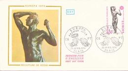 FRANCE FDC DU 20 AVRIL 1974 PARIS EUROPA SCULPTURE DE RODIN - FDC
