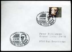 39527) BRD - Brief Mi 1440 - SoST 7032 SINDELFINGEN 1 Vom 27.10.1989 - Reinhold Maier JUPEX'89 - Affrancature Meccaniche Rosse (EMA)
