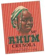 """Ancienne étiquette  Rhum Crusola  Ets Desmoulin Bayeux """"visage Femme"""" - Rhum"""