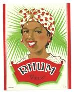 """Ancienne étiquette  Rhum Vieux """"visage Femme"""" - Rhum"""