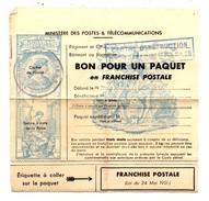 BON POUR UN PAQUET EN FRANCHISE POSTALE . Tampon Centre D'instruction Des Transmissions N° 25 - Franchise Militaire (timbres)