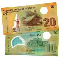 "NICARAGUA 10 & 20 CORDOBAS 2007 (2012) P-201 202 NEUF BLANC ""20"" EN FENETRE [NI497b-NI498b] - Nicaragua"