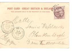 CP Holborn London 1899 To Blankenberghe Arrival Canc.+Ambulant Ostende-BXL 2 PR4009 - Ambulants