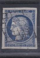 FRANCE :  Cérès 4a  25 C  Bleu Foncé Oblitération Grille TTB - 1849-1850 Ceres