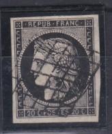 FRANCE :  Cérès 3 20 Ct Noir  Oblitération Grille TTB - 1849-1850 Ceres