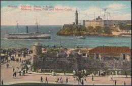 POS-346 CUBA POSTCARD HAVANA. HABANA CIRCA 1920. BARCO, SHIP,  MALECON, LA PUNTA MORRO CASTLE. - Cuba