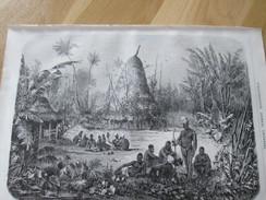 Gravure 1871   TENTE D UN CHEF   CAHOUA    Nouméa  NOUVELLE CALEDONIE    Nouméa Kaldak Belle Jarat - Old Paper