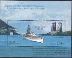 Saint-Pierre & Miquelon 2011 Yvert Bloc Feuillet 19 Neuf ** Cote (2015) 4.40 Euro Navire Escorteur Forbin Emission TAAF - Blocs-feuillets