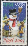 Saint-Pierre & Miquelon 2005 Yvert 859 Neuf ** Cote (2015) 2.10 Euro Noël Enfants Avec Bonhomme De Neige - Neufs