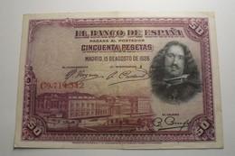 1928 - Espagne - Spain - 50 PESETAS, 15 DE AGOSTO DE 1928, C9,714,342 - [ 1] …-1931: Erste Ausgaben (Banco De España)