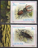 Ref. LT-746-47 LITHUANIA 2003 INSECTS, ANIMALS & FAUNA BEETLES, NATURE RED BOOK MI# 819-820 MINT MNH 2V Sc# 746-747