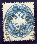 AUSTRIA  1863 Arms 10 Kr,  Perf. 14 Used.  Michel 27 - 1850-1918 Empire