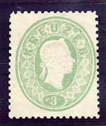 AUSTRIA  1860 Franz Joseph 3 Kr, Light Green  Perf. 14 Unused Without Gum.  Michel 19. ANK 19a Cat. €260 - 1850-1918 Empire