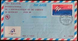 FRANCE Cosmos Espace, AEROGRAMME REPIQUE Salon International De L'aeronautique Et De L'espace Le BOURGET Juin 89 - Europa