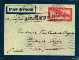 1936, Air Mail SAIGON-MARSEILLE, Flap Missing.