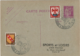LBON12 -EP CP PAIX 40c REPIQUAGE AIR FRANCE OBLITERATION TEMPORAIRE - Postal Stamped Stationery