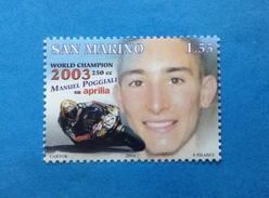 2004 SAN MARINO FRANCOBOLLO NUOVO STAMP NEW MNH** - MOTOMONDIALE MANUEL POGGIALI - - Nuovi