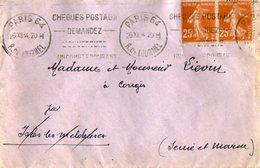 TB 2174  - LSC - Lettre Avec Vignette Contre La Tuberculose OB PARIS Rue De Lourmel Pour CONGIS - Marcophilie (Lettres)