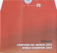 AUTOMOBILISMO 2003 F1 G.P. AUSTRALIA 2004  FERRARI CAMPIONE MONDO 2003 FOLDER BOLAFFI IN BUSTA (7064) - 2001-10: Storia Postale