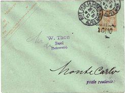 LBON12 - EP ENVELOPPE MOUCHON 15c 125x94mm SURCHARGE DEPLACEE OBL. NICE POUR MONTE CARLO 27/11/1907