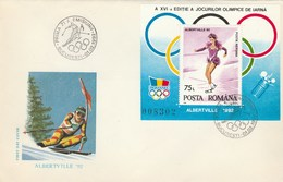T438  PATINAGE,SKI,OLYMPIC GAMES ALBERTVILLE COVER FDC 1992 ROMANIA.