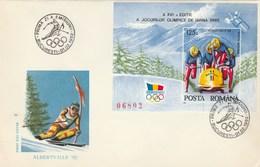 T438  BOB,SKI,OLYMPIC GAMES ALBERTVILLE COVER FDC 1992 ROMANIA.