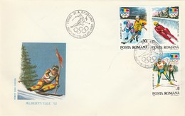 T440  HOKEY,SKI,PATINAGE,OLYMPIC GAMES ALBERTVILLE,3X COVERS FDC 1992 ROMANIA.