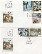T441  WOLF,OWLS,BEARS,2X COVERS FDC 1992 ROMANIA.