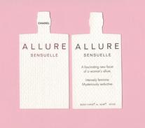 Cartes Parfumées Carte CHANEL ALLURE SENSUELLE    De CHANEL      HAUTEUR TOTALE 8.5 CM - Cartes Parfumées