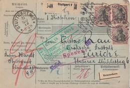 DR Pakletkarte Mef Minr.3x 91II Stuttgart 14.11.18 Gel. In Schweiz - Deutschland