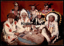 POSTKARTE INDIANER PALAVER Medizinmann Chief Medicineman Quack Cpa AK Ansichtskarte Postcard - Indianer