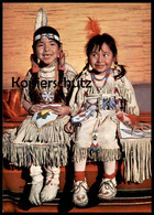 POSTKARTE INDIANER KINDER MAUSI UND CONNY Indian Indians Indien Feather Headdress Coiffe Cpa AK - Indianer