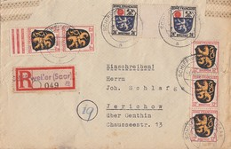 Fr Zone R-Brief Mifr. Minr.5x 6, 2x 9ZW Schiffweiler 1.10.48 - Französische Zone