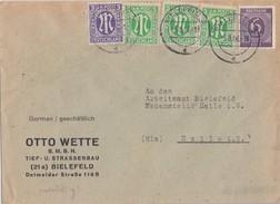 AM-Post Brief Mif Minr.1, 3x 3, Gemeina. Minr.916 Bielefeld 5.8.46 - Bizone