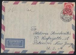 Bund Luftpostbrief EF Minr.137 Hüttenfeld 1.9.54 Gel. In USA - BRD