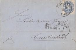 Preussen Brief EF Minr.17 K2 Barmen 1.8.66 Gel. Nach Holland - Preussen