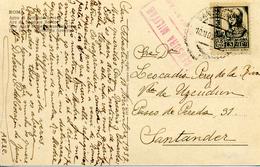 "1937 "" Postal De San Sebastian A Santander "" Censura - Marcas De Censura Nacional"