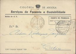 Postcard Free Of Franchise Circulated In 1953 From Luanda To Vila Salazar, Angola.Postal Isento De Franquia. Rare. - Angola