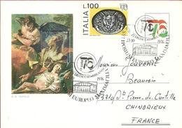 PS---ITALIA---FOLDER CON FRANCOBOLLO DEL TIEPOLO 1975 --ESP. MOND. FILATELIA 76 CON DEDICA---3 SCANS - Paquetes De Presentación