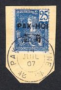 """PAKHOI - Série 1906 - N°24 (Yvert) - 25c Sur Fragment Avec Très Beau Cachet """"PAK-HOI - CHINE 14 Juil 1907"""" - Pakhoi (1903-1922)"""